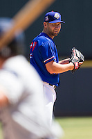 Round Rock Express pitcher Ryan Feierabend #37 looks to his catcher for the sign during the Pacific Coast League baseball game against the New Orleans Zephyrs on May 5, 2014 at the Dell Diamond in Round Rock, Texas. The Zephyrs defeated the Express 13-4. (Andrew Woolley/Four Seam Images)