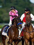 SARATOGA SPRINGS, NY - AUGUST 26: Jockey Mike Smith, celebrates aboard West Coast in the Travers Stakes at Saratoga Race Course on August 26, 2017 in Saratoga Springs, New York.(Photo by Alex Evers/Eclipse Sportswire/Getty Images)