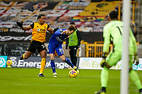 7th February 2021; Molineux Stadium, Wolverhampton, West Midlands, England; English Premier League Football, Wolverhampton Wanderers versus Leicester City; James Maddison of Leicester City manages to get a low cross into the box