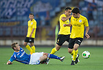 Alashkert FC v St Johnstone...02.07.15   Republican Stadium, Yerevan, Armenia....UEFA Europa League Qualifier.<br /> David Wotherspoon tackles Mihran Manasyan<br /> Picture by Graeme Hart.<br /> Copyright Perthshire Picture Agency<br /> Tel: 01738 623350  Mobile: 07990 594431