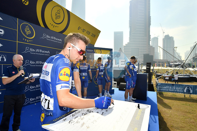 Elia Viviani (ITA) Quick-Step Floors at sign on before the start of Stage 2 The  Ras Al Khaimah Stage of the Dubai Tour 2018 the Dubai Tour's 5th edition, running 190km from Skydive Dubai to Ras Al Khaimah, Dubai, United Arab Emirates. 7th February 2018.<br /> Picture: LaPresse/Massimo Paolone | Cyclefile<br /> <br /> <br /> All photos usage must carry mandatory copyright credit (© Cyclefile | LaPresse/Massimo Paolone)