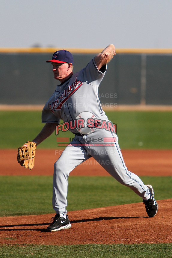 Former major league pitcher Rick Waits pitches to campers during the Cleveland Indians Fantasy camp at the Goodyear Training Complex in Goodyear, Arizona;  January 18, 2011.  Photo By Mike Janes/Four Seam Images
