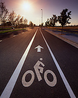 Bike riding sign in Portland Oregon at sunset