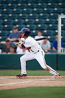 Fort Myers Miracle second baseman Alex Perez (2) follows through on a swing during a game against the Jupiter Hammerheads on April 9, 2017 at CenturyLink Sports Complex in Fort Myers, Florida.  Jupiter defeated Fort Myers 3-2.  (Mike Janes/Four Seam Images)