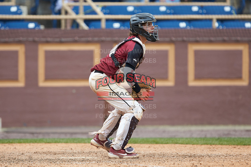 North Carolina Central Eagles catcher Chet Sikes (7) on defense against the North Carolina A&T Aggies at Durham Athletic Park on April 10, 2021 in Durham, North Carolina. (Brian Westerholt/Four Seam Images)