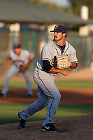 Michael Dimock #20 of the Lancaster JetHawks pitches against the Modesto Nuts at John Thurman Stadium on August 8, 2013 in Modesto, California. Modesto defeated Lancaster, 6-2. (Larry Goren/Four Seam Images)