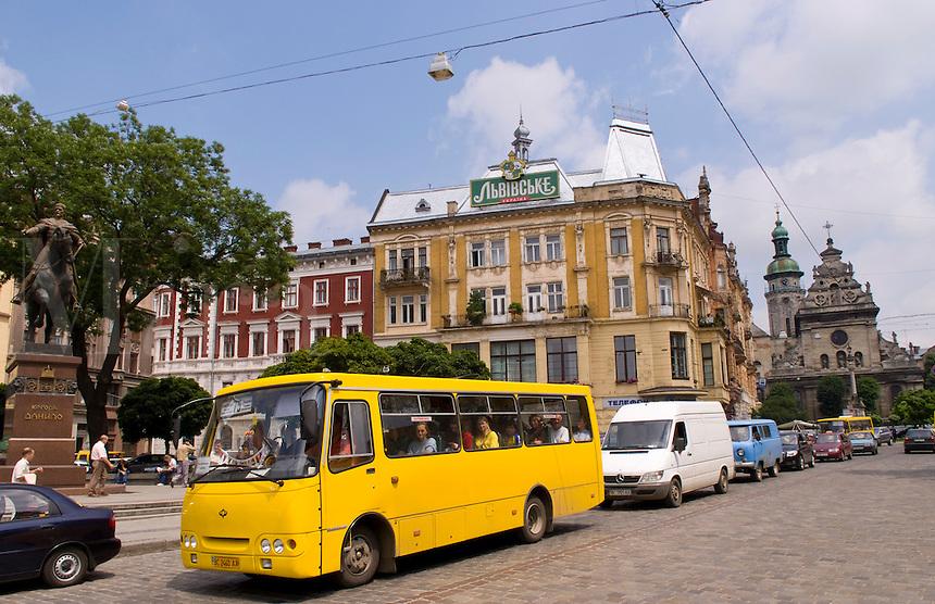 Town architecture on Soborna Street, Lviv, Ukraine