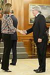 Queen Letizia of Spain with the Atletico de Madrid's President Enrique Cerezo during audience to a representation of the Board of the Foundation for Help Against Drug Addiction (FAD) and delivery of Master Action Awards 2015. December 16,2015. (ALTERPHOTOS/Acero)