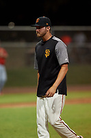 AZL Giants Orange pitching coach Mike Couchee during a game against the AZL Angels at Giants Baseball Complex on June 17, 2019 in Scottsdale, Arizona. AZL Giants Orange defeated AZL Angels 8-4. (Zachary Lucy/Four Seam Images)