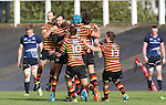 The Quins players celebrate victory with the last kick of the match by wing Frazier Climo.<br /> British & Irish Cup<br /> Carmarthen Quins v Leinster A<br /> Carmarthen Park<br /> 25.10.14<br /> ©Steve Pope-SPORTINGWALES