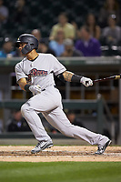 Gleyber Torres (7) of the Scranton/Wilkes-Barre RailRiders follows through on his swing against the Charlotte Knights at BB&T BallPark on April 12, 2018 in Charlotte, North Carolina.  The RailRiders defeated the Knights 11-1.  (Brian Westerholt/Four Seam Images)