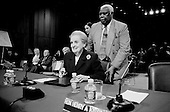 Washington DC, .District of Columbia.USA.January 31, 2007..Madeleine Albright answers questions at a Senate hearing on the war in Iraq....