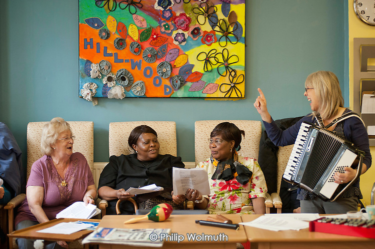 Music therapy session at Age UK Camden's Hillwood Resource Centre, which will close in June 2011 following cuts to the organisation's funding.