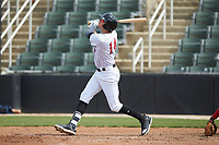 Craig Dedelow (14) of the Kannapolis Intimidators follows through on his swing against the Lakewood BlueClaws at Kannapolis Intimidators Stadium on April 8, 2018 in Kannapolis, North Carolina.  The Intimidators defeated the BlueClaws 5-1 in game one of a double-header.  (Brian Westerholt/Four Seam Images)
