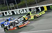 #24: Brett Moffitt, GMS Racing, Chevrolet Silverado Allegiant, #18: Kyle Busch, Joe Gibbs Racing, Toyota Camry M&M's Chocolate Bar and #88: Matt Crafton, ThorSport Racing, Ford F-150 DampRid/Menards Ford