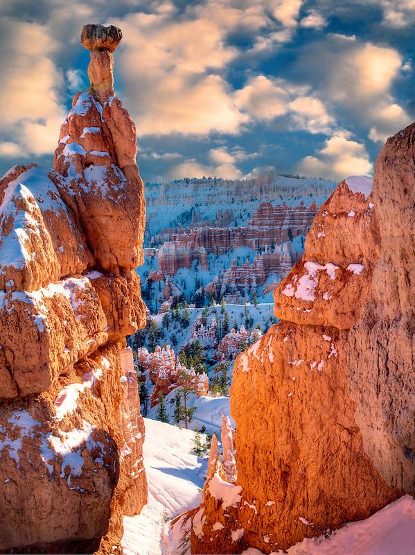 Snow on Hoodoos. Bryce Canyon National Park, Utah