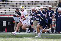 College Park, MD - February 15, 2020: Maryland Terrapins attack/midfielder Jack Brennan (41) looks to pass the ball during the game between Penn and Maryland at  Capital One Field at Maryland Stadium in College Park, MD.  (Photo by Elliott Brown/Media Images International)
