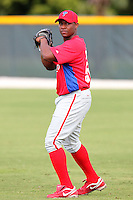 Philadelphia Phillies outfielder Leandro Castro during warmups before an Instructional League game against the Pittsburgh Pirates at Pirate City on October 11, 2011 in Bradenton, Florida.  (Mike Janes/Four Seam Images)
