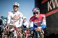 Mathieu Van der Poel (NED/Alpecin-Fenix) & Oliver Naesen (BEL/AG2R Citroën) all smiles at the race start<br /> <br /> 73rd Kuurne - Brussels - Kuurne 2021<br /> ME (1.Pro)<br /> 1 day race from Kuurne to Kuurne (BEL/197km)<br /> <br /> ©kramon