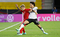 2nd June 2021, Tivoli Stadion, Innsbruck, Austria; International football friendly, Germany versus Denmark;  Daniel Wass Denmark and Leroy Sane Germany