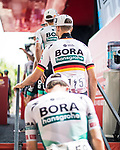 Bora-Hansgrohe at sign on before the start of Stage 6 of La Vuelta d'Espana 2021, running 158.3km from Requena to Alto de la Montaña Cullera, Spain. 19th August 2021.    <br /> Picture: Charly Lopez/Unipublic   Cyclefile<br /> <br /> All photos usage must carry mandatory copyright credit (© Cyclefile   Unipublic/Charly Lopez)