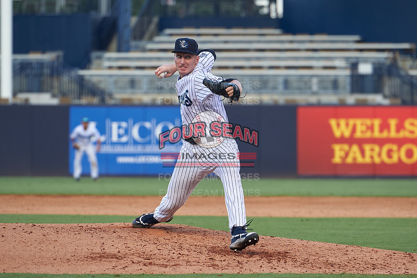 Tampa Tarpons pitcher Trevor Stephan (35) delivers the last pitch of a Florida State League game against the Jupiter Hammerheads on July 26, 2019 at George M. Steinbrenner Field in Tampa, Florida.  Stephan struck out 9 batters over 7 innings for a no-hitter in the first game of a doubleheader.  Tampa defeated Jupiter 2-0.  (Mike Janes/Four Seam Images)