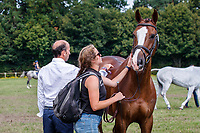 NZL-Tim Price and Jess Wilson with Jarillo during the 1st Horse Inspection for the CCI2*-L. FRA-Le Grand Complet - Haras du Pin FEI Nations Cup Eventing. Le Pin au Haras. Normandie. France. Thursday 12 August 2021. Copyright Photo: Libby Law Photography
