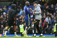 Chelsea's Romelu Lukaku and Chelsea Manager, Thomas Tuchel, at the final whistle during Chelsea vs Southampton, Premier League Football at Stamford Bridge on 2nd October 2021