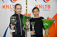 March 8, 2015, Netherlands, Rotterdam, TC Victoria, NOJK, winer girls 12 years Bente Spee and runner up Gigi Sy-A-Foek (R)<br /> Photo: Tennisimages/Henk Koster