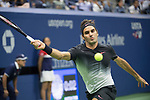 September 6,2017:   Roger Federer (SUI) loses to Juan DelPotro 7-5, 3-6, 7-6, 6-4, at the US Open being played at Billy Jean King Ntional Tennis Center in Flushing, Queens, New York.  ©Leslie Billman