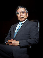 Haruhiko Kuroda the Governor of Bank of Japan pose for camera after interview at a room in BOJ. (Photo / Ko Sasaki for FT)