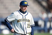 Michigan Wolverines assistant coach Brandon Inge (15) during the NCAA baseball game against the Illinois Fighting Illini at Fisher Stadium on March 19, 2021 in Ann Arbor, Michigan. Illinois won the game 7-4. (Andrew Woolley/Four Seam Images)