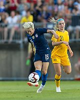 East Hartford, Connecticut - Sunday July 29, 2018:  2018 Tournament of Nations match between the women's national teams of Australia (AUS) (yellow) and United States (USA) (blue). At Pratt & Whitney Stadium at Rentschler Field.