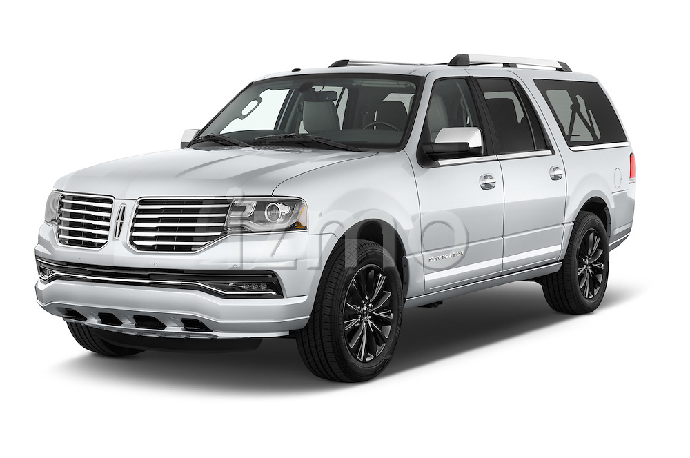 2015 Lincoln Navigator Select 5 Door SUV Angular Front stock photos of front three quarter view