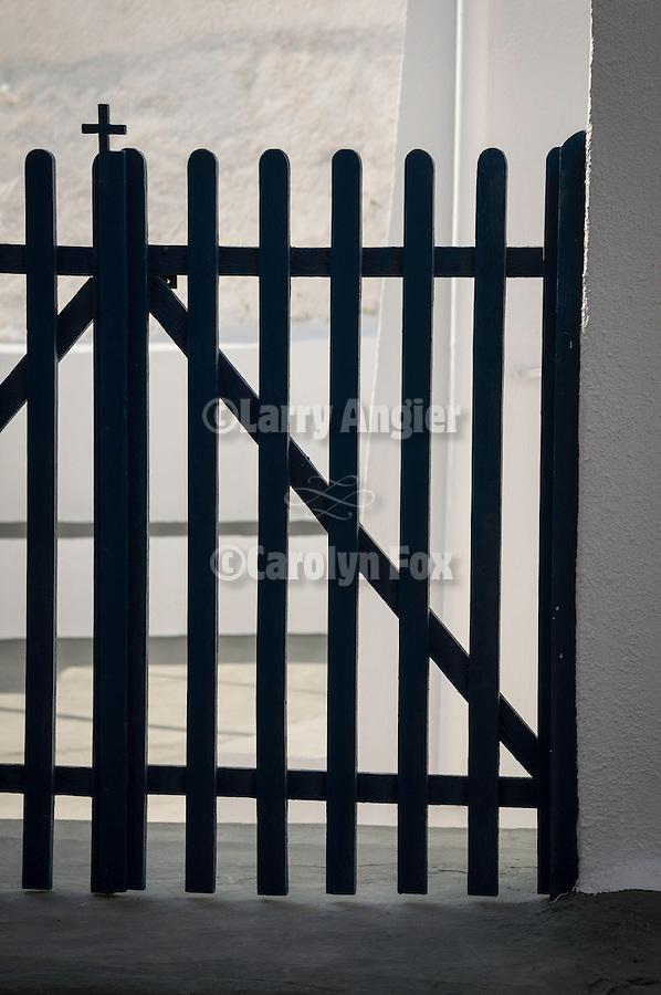 Picket gate for a chapel dooryard, Akrotiri, Santorini, Greece