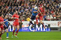 28.02.2015. Stade de France, Paris, France. 6 Nations International Rugby. France versus Wales.  Wesley Fofana (fra) challenges for the high ball