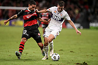19th March 2021; Bankwest Stadium, Parramatta, New South Wales, Australia; A League Football, Western Sydney Wanderers versus Perth Glory; Carlo Armiento of Perth Glory holds onto Tate Russell of Western Sydney Wanderers