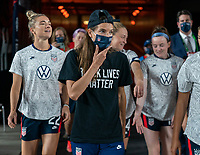 HOUSTON, TX - JUNE 13: Tobin Heath #17 of the USWNT walks onto the field before a game between Jamaica and USWNT at BBVA Stadium on June 13, 2021 in Houston, Texas.