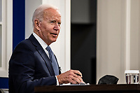 United States President Joe Biden speaks during a meeting in the Eisenhower Executive Office Building in Washington, D.C., U.S., on Wednesday, Oct. 6, 2021. Bidenis meeting with financial and corporate leaders to highlight the potential damage to the U.S. economy from a debt default as lawmakers continue brinkmanship over the debt limit.<br /> CAP/MPI/RS<br /> ©RS/MPI/Capital Pictures