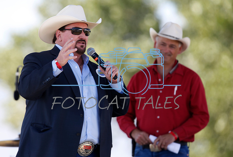 Nevada Sen. James Settelmeyer, R-Gardnerville, listens as state Republican Party Chair Michael McDonald speaks at the 4th annual Basque Fry in Gardnerville, Nev., on Saturday, Aug. 25, 2018. Hosted by the Morning in Nevada PAC, the event is a fundraiser for conservative candidates and issues and includes traditional Basque dishes like deep-fried lamb testicles.(Cathleen Allison/Las Vegas Review Journal)