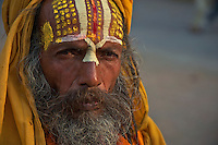 The colorful face of a Sadhu Durbar Square and old Town Area