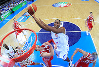French national basketball team player Pietrus Florent scores during semifinal basketball game between France and Russia in Kaunas, Lithuania, Eurobasket 2011, Friday, September 16, 2011. (photo: Pedja Milosavljevic)