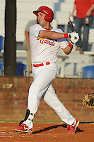 Johnson City Cardinals designated hitter David Bergin #30 swings at a pitch during a game against the Greeneville Astros at Howard Johnson Field on July 13, 2011 in Johnson City, Tennessee.  Greeneville won the game 7-4.   (Tony Farlow/Four Seam Images)
