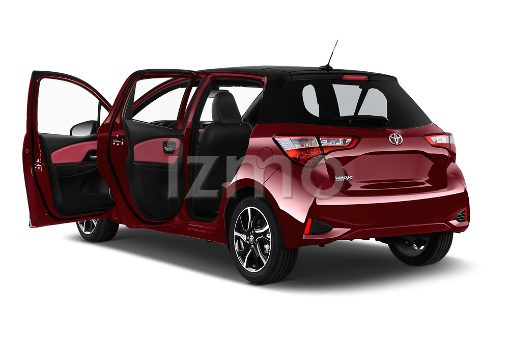 Car images close up view of a 2018 Toyota Yaris Two tone 5 Door Hatchback doors