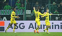18.02.2018, Football 1. Bundesliga 2017/2018, 23. Match Day, Borussia Moenchengladbach - Borussia Dortmund, im Borussia-Park Moenchengladbach. Jubel  Michy Batshuayi (Dortmund) , Lukasz Piszczek (Dortmund) und Torsch?otze Marco Reus (Dortmund)  celebrates scoring to 0:1 *** Local Caption *** © pixathlon +++ tel. +49 - (040) - 22 63 02 60 - mail: info@pixathlon.de<br /> <br /> +++ NED + SUI out !!! +++