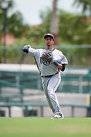 GCL Rays third baseman Carlos Vargas (25) throws to first base during a game against the GCL Orioles on July 21, 2017 at Ed Smith Stadium in Sarasota, Florida.  GCL Orioles defeated the GCL Rays 9-0.  (Mike Janes/Four Seam Images)