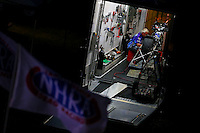 Aug 30, 2014; Clermont, IN, USA; Blake Gann works on the bike of his son, NHRA pro stock motorcycle rider Shawn Gann (not pictured) in the teams trailer during qualifying for the US Nationals at Lucas Oil Raceway. Mandatory Credit: Mark J. Rebilas-USA TODAY Sports