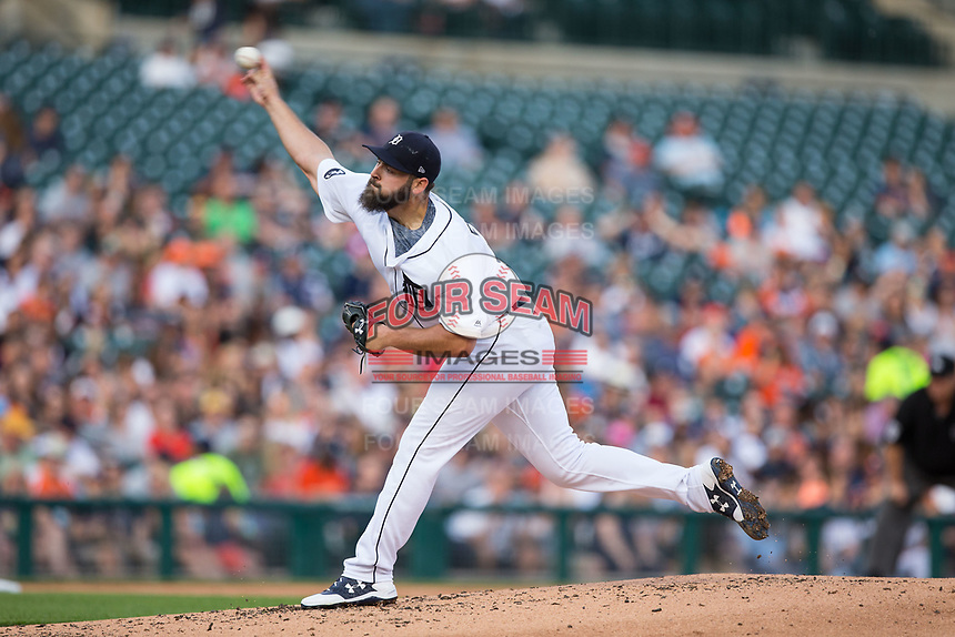 Detroit Tigers starting pitcher Michael Fulmer (32) delivers a pitch to the plate against the Chicago White Sox at Comerica Park on June 2, 2017 in Detroit, Michigan.  The Tigers defeated the White Sox 15-5.  (Brian Westerholt/Four Seam Images)