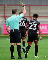 Lincoln City's Liam Bridcutt is shown a yellow card by referee Anthony Backhouse<br /> <br /> Photographer Chris Vaughan/CameraSport<br /> <br /> The EFL Sky Bet League One - Fleetwood Town v Lincoln City - Saturday 17th October 2020 - Highbury Stadium - Fleetwood<br /> <br /> World Copyright © 2020 CameraSport. All rights reserved. 43 Linden Ave. Countesthorpe. Leicester. England. LE8 5PG - Tel: +44 (0) 116 277 4147 - admin@camerasport.com - www.camerasport.com
