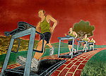 Illustration of people running on treadmill for losing weight